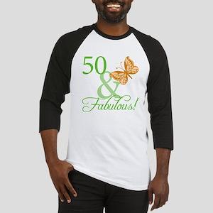50 & Fabulous Birthday Baseball Jersey