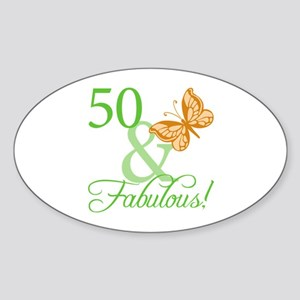 50 & Fabulous Birthday Oval Sticker