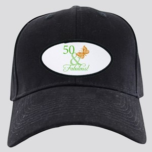 50 & Fabulous Birthday Black Cap