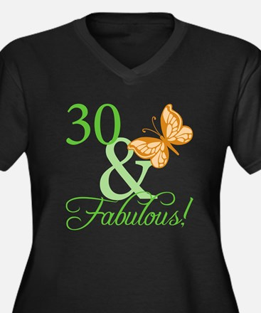 30 & Fabulous Birthday Women's Plus Size V-Neck Da