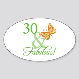 30 & Fabulous Birthday Oval Sticker