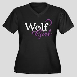 Twilight Wolf Girl Women's Plus Size V-Neck Dark T
