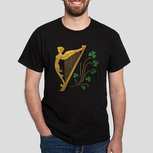 Lady Harp And Shamrocks Dark T-Shirt