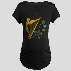 Lady Harp And Shamrocks Maternity Dark T-Shirt