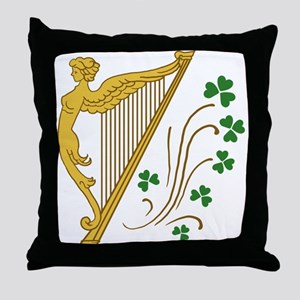 Lady Harp And Shamrocks Throw Pillow