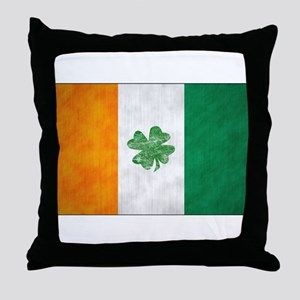 Irish Shamrock Flag Throw Pillow