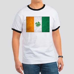 Irish Shamrock Flag Ringer T