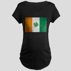 Irish Shamrock Flag Maternity Dark T-Shirt