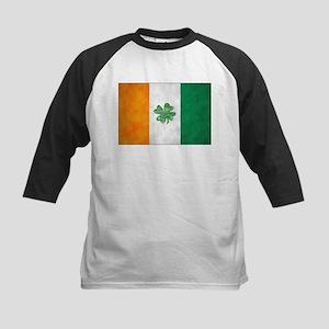 Irish Shamrock Flag Kids Baseball Jersey