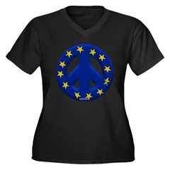 European Union Women's Plus Size V-Neck Dark T-Shi