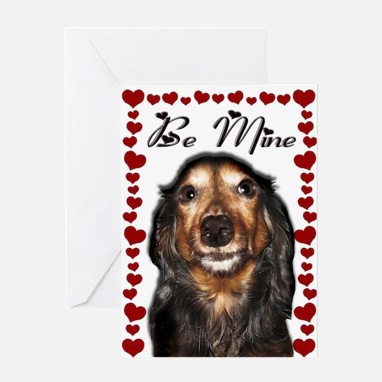 Longhair Dachshund Valentine Greeting Card
