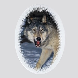 """""""Wolf"""" Oval Ornament"""