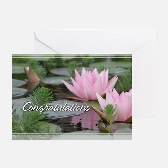 Pink Lotusflower Congratulations Card 5x7