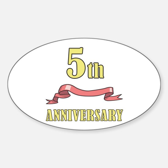5th Wedding Anniversary Oval Decal