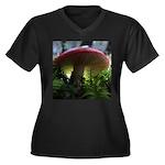 Red Mushroom in Forest Women's Plus Size V-Neck Da