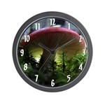 Red Mushroom in Forest Wall Clock