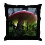 Red Mushroom in Forest Throw Pillow
