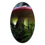 Red Mushroom in Forest Sticker (Oval 10 pk)