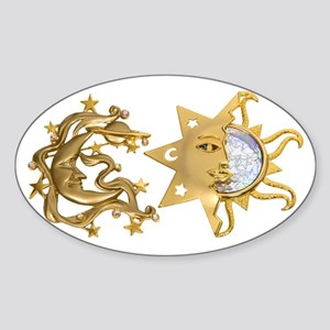 Sun Moon Sparkle Oval Sticker