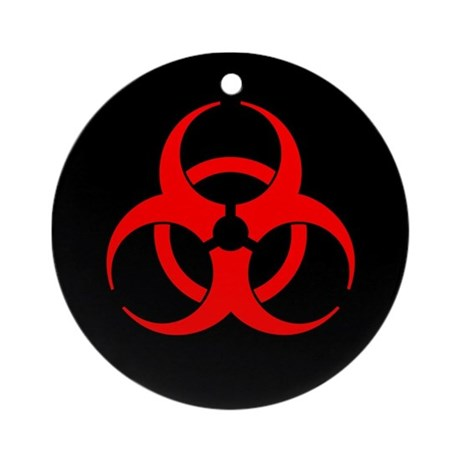 Red Biohazard Symbol Ornament Round By Sciencedoodles