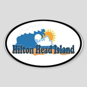 Hilton Head Island SC - Beach Design Sticker (Oval
