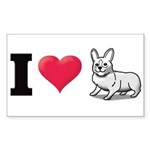 I Love Corgi2 Rectangle Sticker 50 pk)