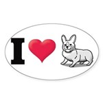 I Love Corgi2 Oval Sticker (50 pk)