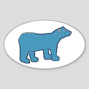 Blue Bear Oval Sticker