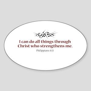 Philippians 4:13 Oval Sticker
