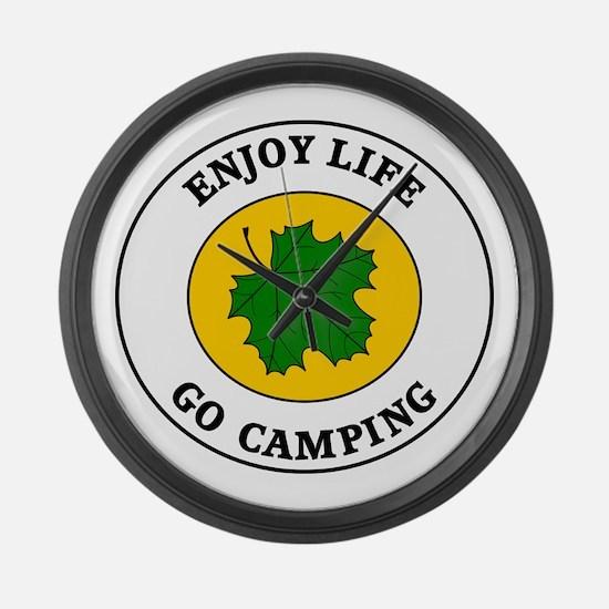Enjoy Life Go Camping Large Wall Clock