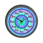 Months Of The Year Colorful Curious Wall Clock