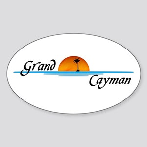 Grand Cayman Sunset Oval Sticker