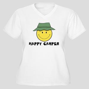 d34d91a8 Happy Camper Smiley Face Women's Plus Size T-Shirts - CafePress