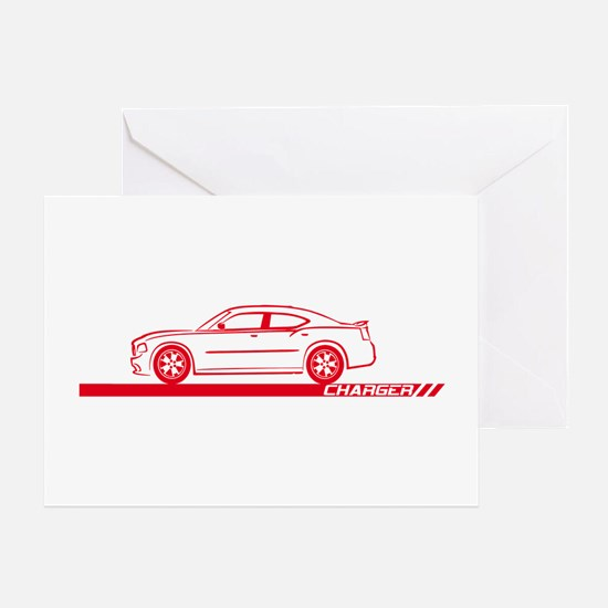 2005-10 Charger Red Car Greeting Card