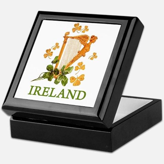 Ireland - Golden Irish Harp Keepsake Box