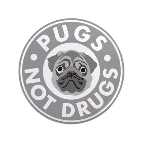 """Pugs Not Drugs 3.5"""" Button"""