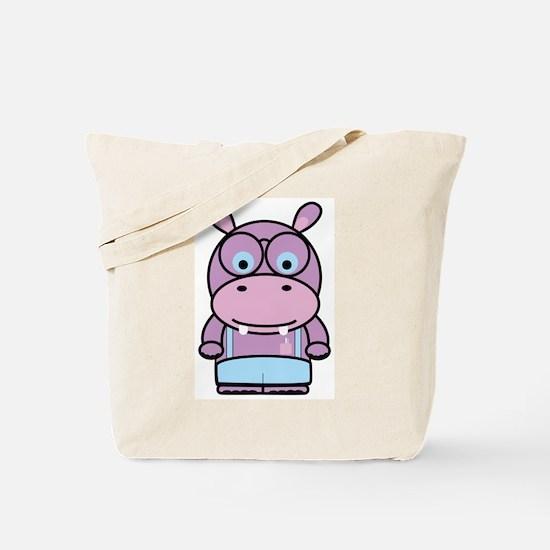 Purple Hippo Nerd Tote Bag