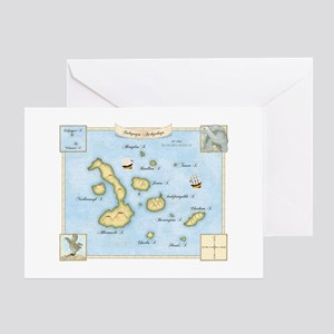 Galapagos Archipelago Map Greeting Card
