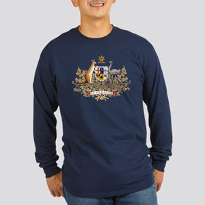 Australia Coat of Arms (Front) Long Sleeve Dark T-