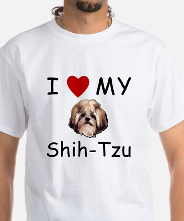 I Heart My Shih-Tzu Lost Humor White T-Shirt