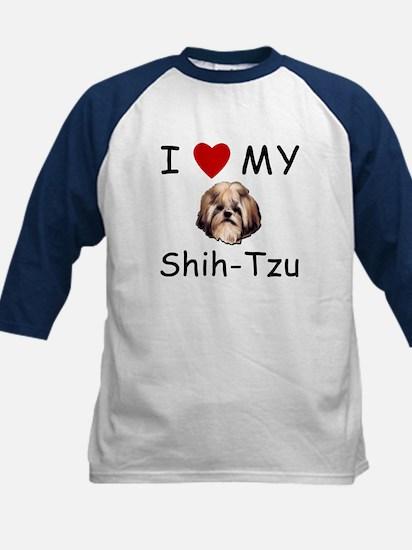 I Heart My Shih-Tzu Lost Humor Kids Baseball Jerse
