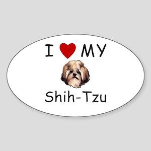 I Heart My Shih-Tzu Lost Humor Oval Sticker