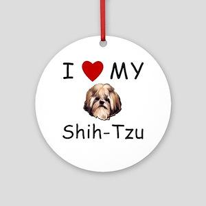 I Heart My Shih-Tzu Lost Humor Ornament (Round)