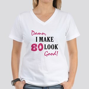 Hot 80th Birthday Womens V Neck T Shirt