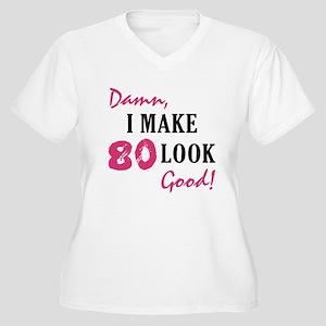 Hot 80th Birthday Women's Plus Size V-Neck T-Shirt
