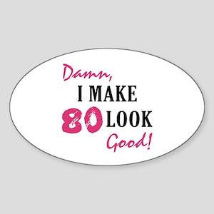 Hot 80th Birthday Oval Sticker