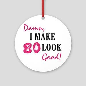 Hot 80th Birthday Ornament (Round)