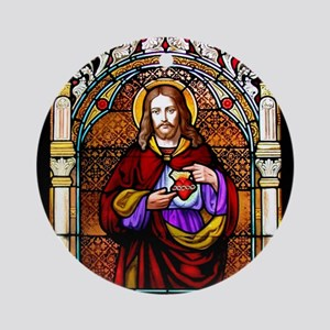 Christ Stained Glass Window Ornament (Round)