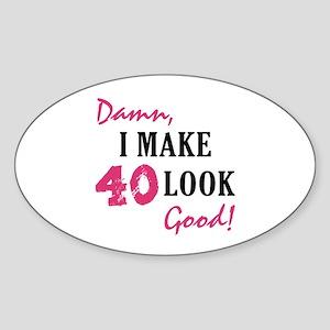 Hot 40th Birthday Oval Sticker