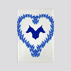 Blue Doberman Valentine Rectangle Magnet